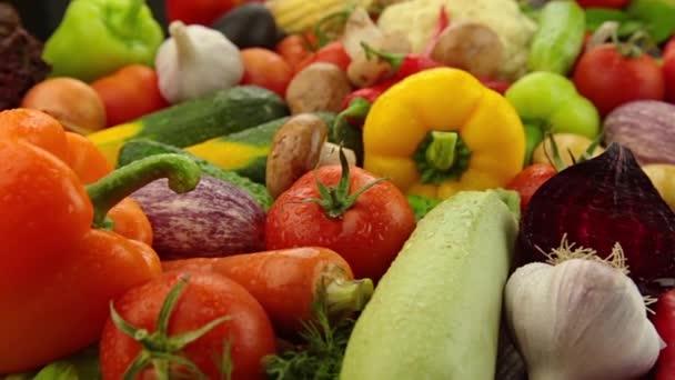 Hodně zeleniny na dřevěný stůl. Rajčata, okurky, papriky, česnek, řepa, cuketa, houby, mrkev, květák, čínské zelí, brambory, cibule