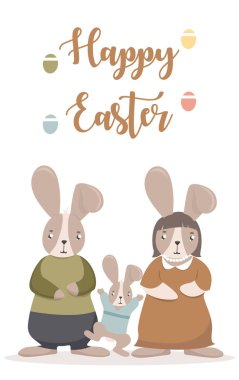 Greeting card with Easter rabbits and big Easter egg. Vector illustration isolated. Cute rabbit family with phrase Happy Easter.
