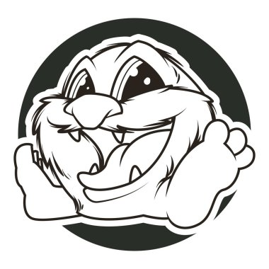 funny monster black and white vector illustration
