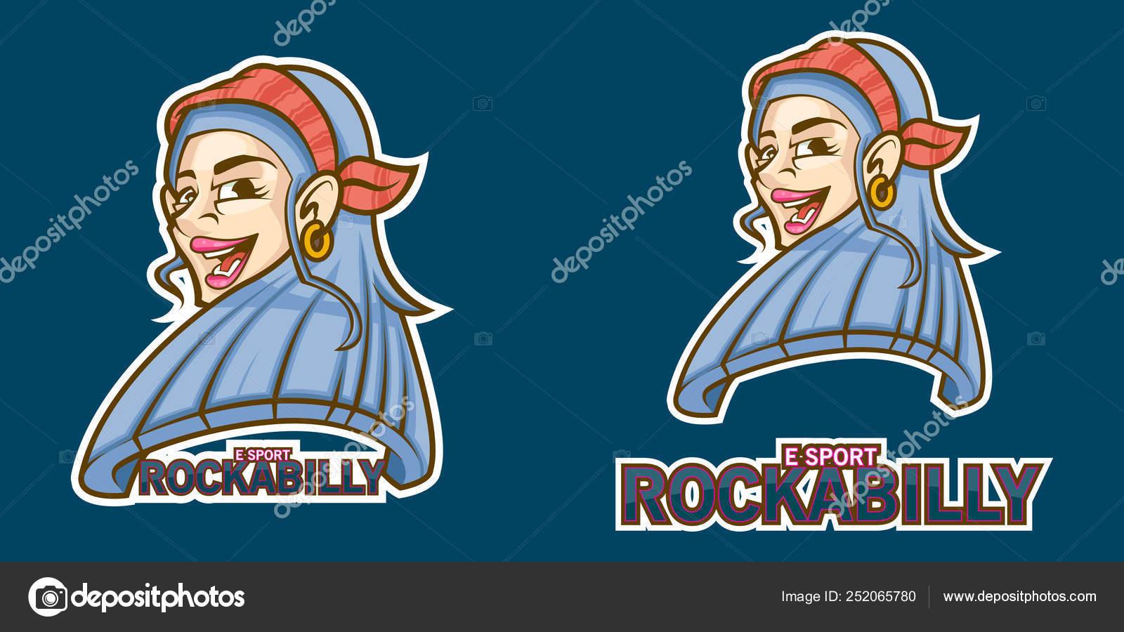 Rockabilly Chica Esports Logotipo Con Bandana Roja Vector