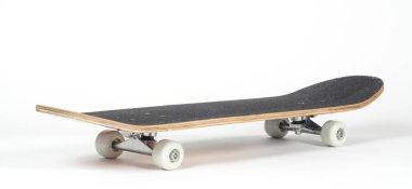 Black skateboard on white background stock vector