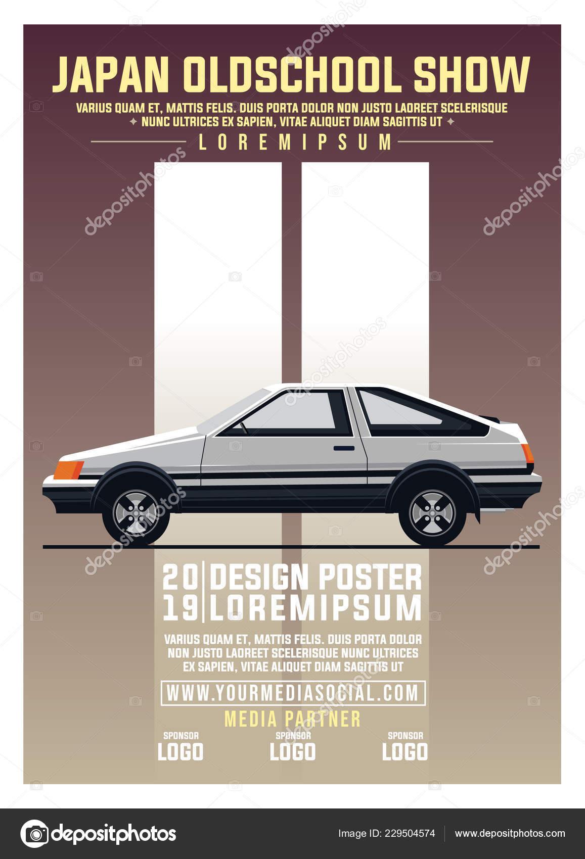 082706f340b Retro Drift Car Warm Gradient Color Applicable Poster Event Flyer ...