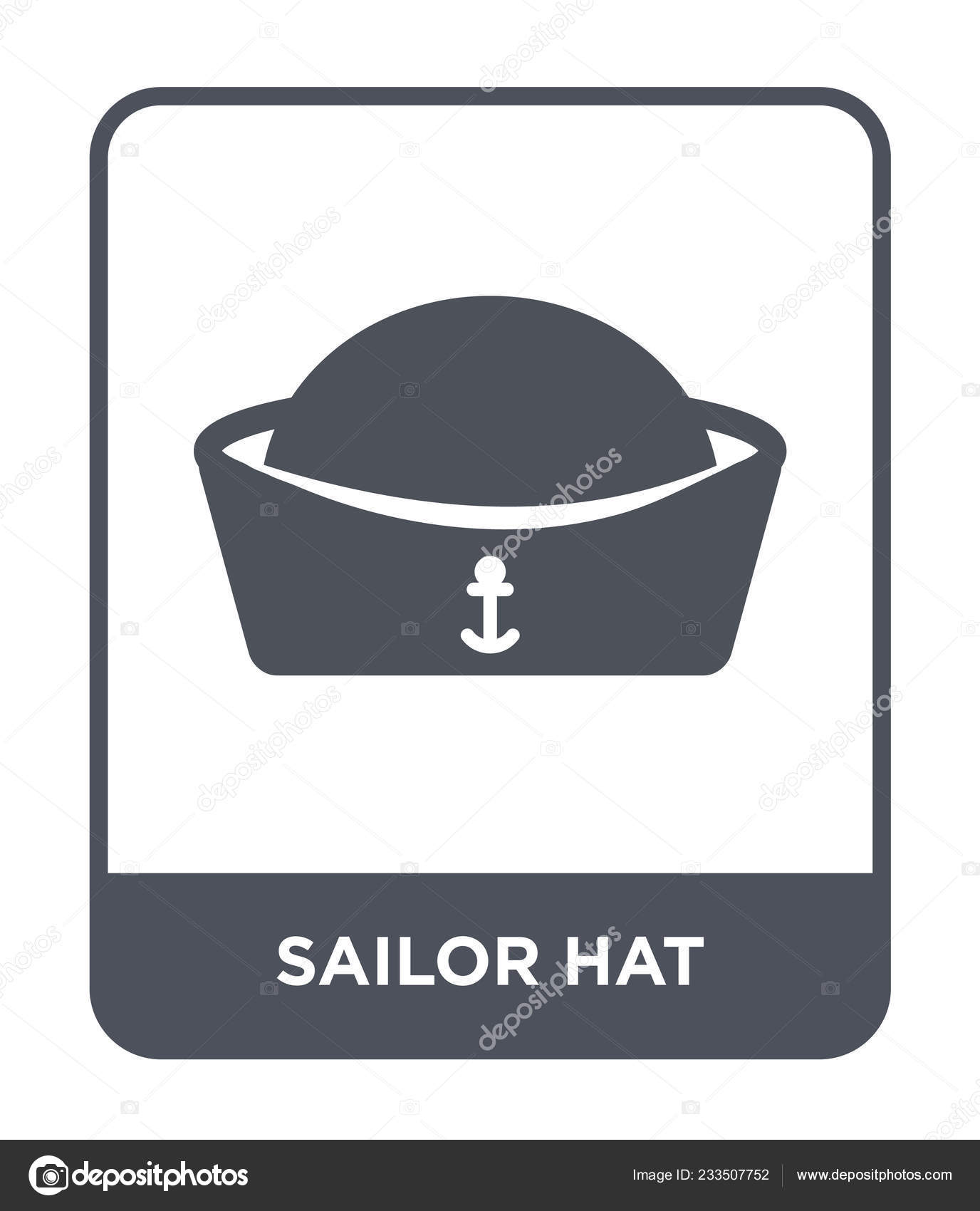 b974917608e3a Icono del sombrero de marinero en el estilo de diseño de moda. icono del  sombrero de marinero aislado sobre fondo blanco. Sailor hat vector icono  símbolo ...