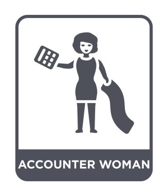 accounter woman icon in trendy design style. accounter woman icon isolated on white background. accounter woman vector icon simple and modern flat symbol.
