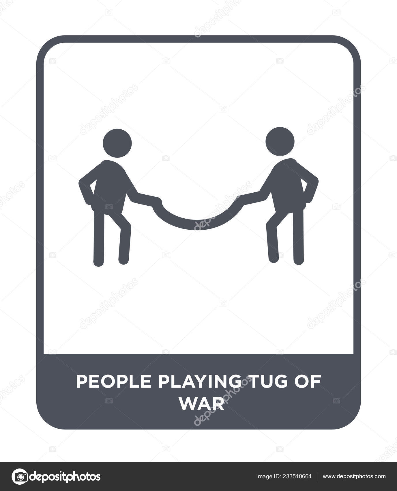 People Playing Tug War Icon Trendy Design Style People