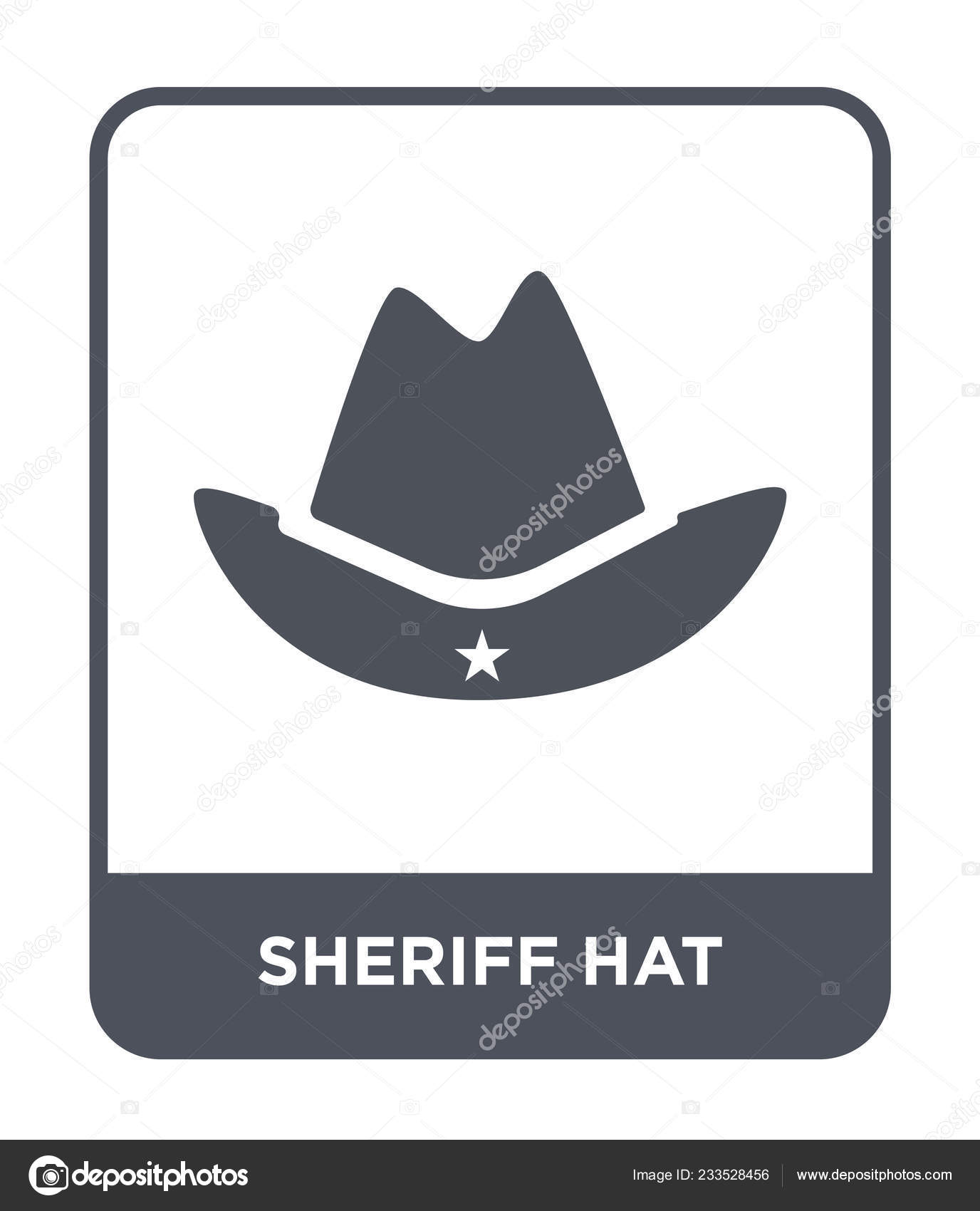c5e2b570 Sheriff hat icon in trendy design style. sheriff hat icon isolated on white  background. sheriff hat vector icon simple and modern flat symbol.