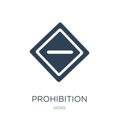 prohibition icon vector on white background, prohibition trendy filled icons from Signs collection, prohibition vector illustration