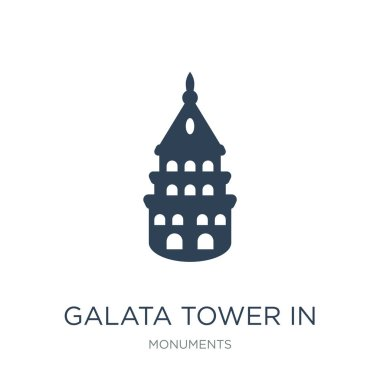 galata tower in istanbul icon vector on white background, galata tower in istanbul trendy filled icons from Monuments collection