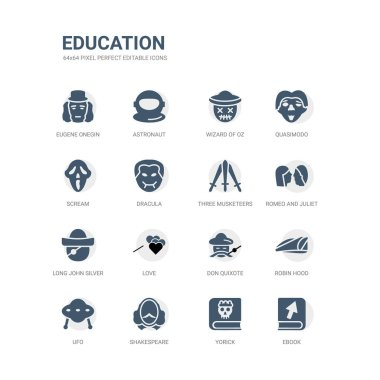 simple set of icons such as ebook, yorick, shakespeare, ufo, robin hood, don quixote, love, long john silver, romeo and juliet, three musketeers. related education icons collection. editable 64x64