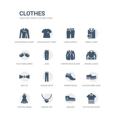 simple set of icons such as cotton polo shirt, sneaker, jewelry set, cocktail dress, leather derby shoe, women socks, chinos pants, bow tie, hooded jacket, oxford wave blazer. related clothes icons