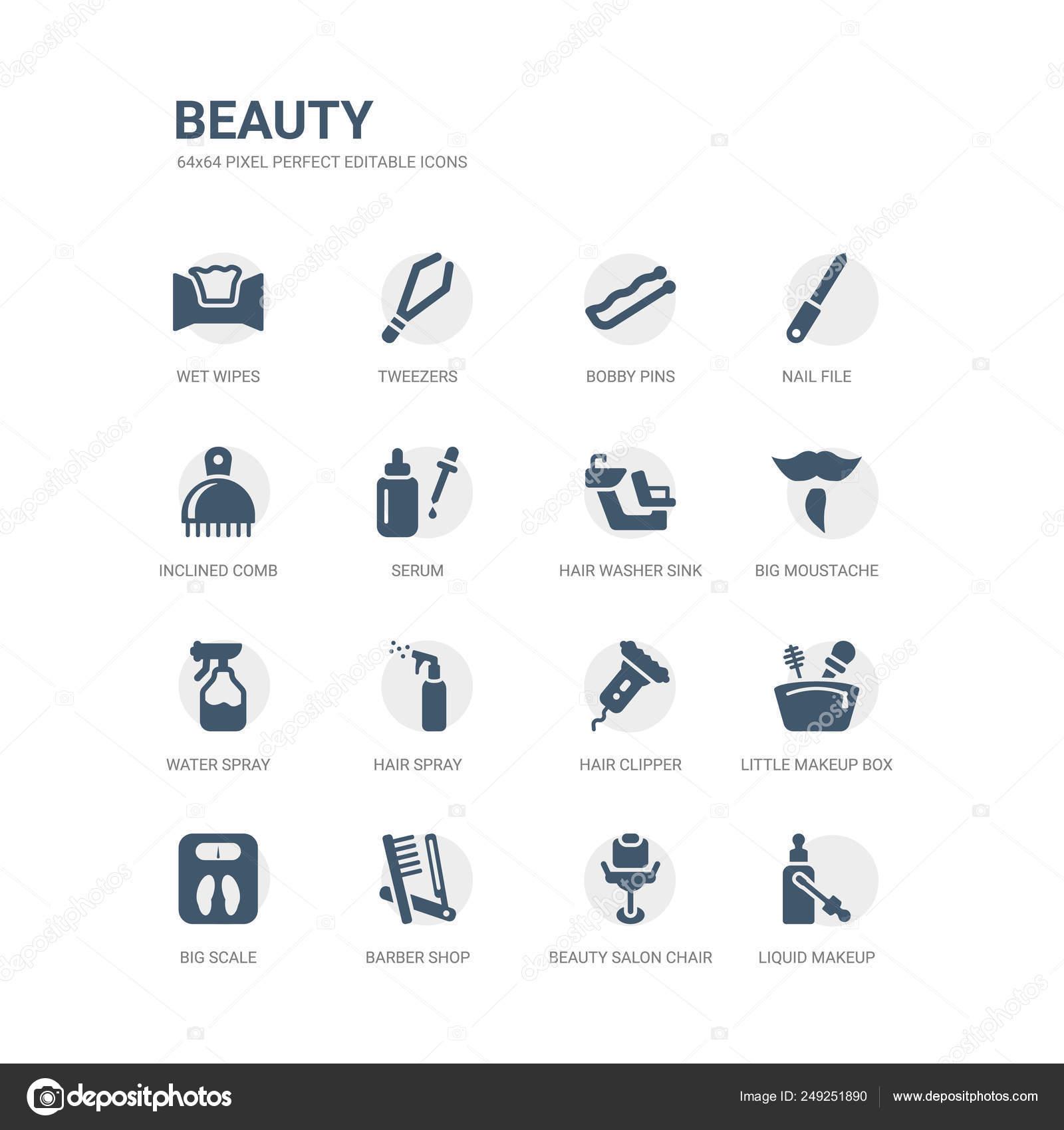 2d08b5499 simple juego de iconos como maquillaje liquido silla de salón de belleza,  peluquería, gran escala, poco caja de maquillaje, podadoras de pelo, laca,  ...