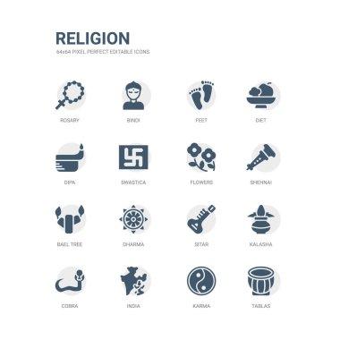 Simple set of icons such as tablas, karma, india, cobra, kalasha, sitar, dharma, bael tree, shehnai, flowers. related religion icons collection. editable 64x64 pixel perfect. stock vector