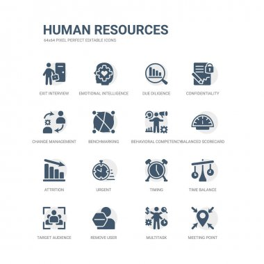 Simple set of icons such as meeting point, multitask, remove user, target audience, time balance, timing, urgent, attrition, balanced scorecard, behavioral competency. related human resources icons stock vector