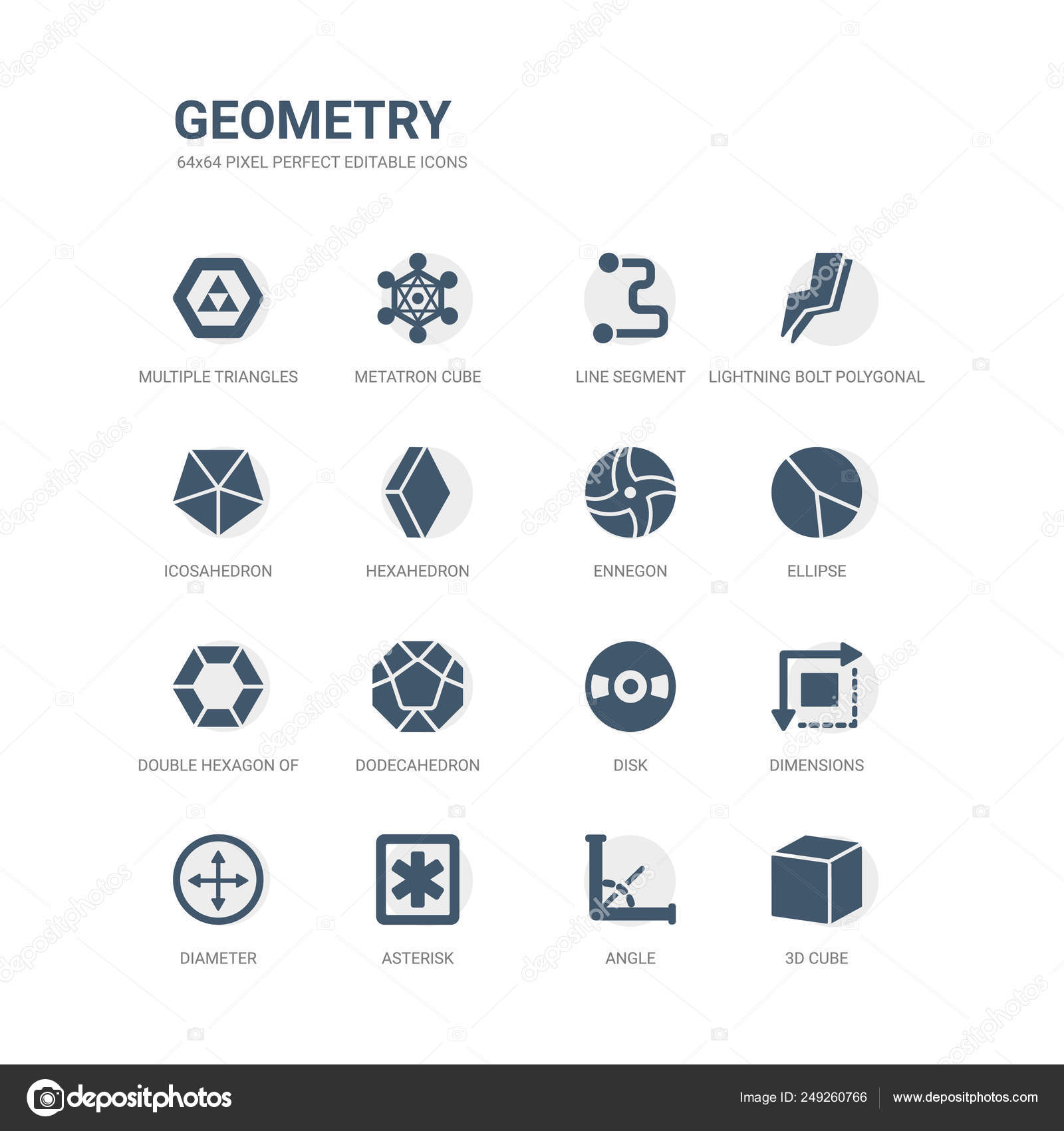 Simple set of icons such as 3d cube, angle, asterisk