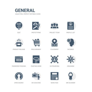 simple set of icons such as mri scanner, news feed, on coaching, open source, organism, outsourcing, painting work, password phishing, patience, placement. related general icons collection. editable