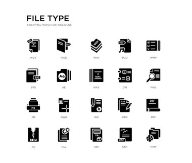 set of 20 black filled vector icons such as raw, rtf, png, wmv, odt, obj, svg, m3u, wav, indd. file type black icons collection. editable pixel perfect