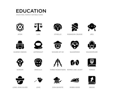set of 20 black filled vector icons such as ebook, yorick, shakespeare, ufo, robin hood, don quixote, eugene onegin, robinson crusoe, othello, law. education black icons collection. editable pixel