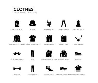 set of 20 black filled vector icons such as cotton polo shirt, sneaker, jewelry set, cocktail dress, leather derby shoe, women socks, leather biker jacket, slim fit pants, lingerine set, men hat.