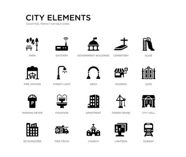 set of 20 black filled vector icons such as subway, city hall, gate, slide, lightbox, church, fire station, cementery, government buildings, gateway. city elements black icons collection. editable