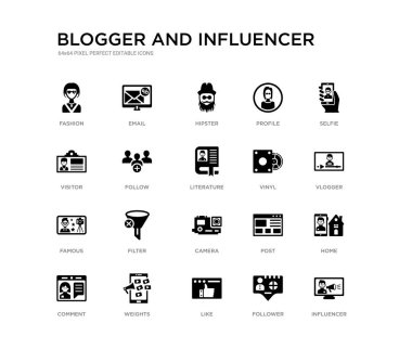 set of 20 black filled vector icons such as influencer, home, vlogger, selfie, follower, like, visitor, profile, hipster, email. blogger and influencer black icons collection. editable pixel perfect