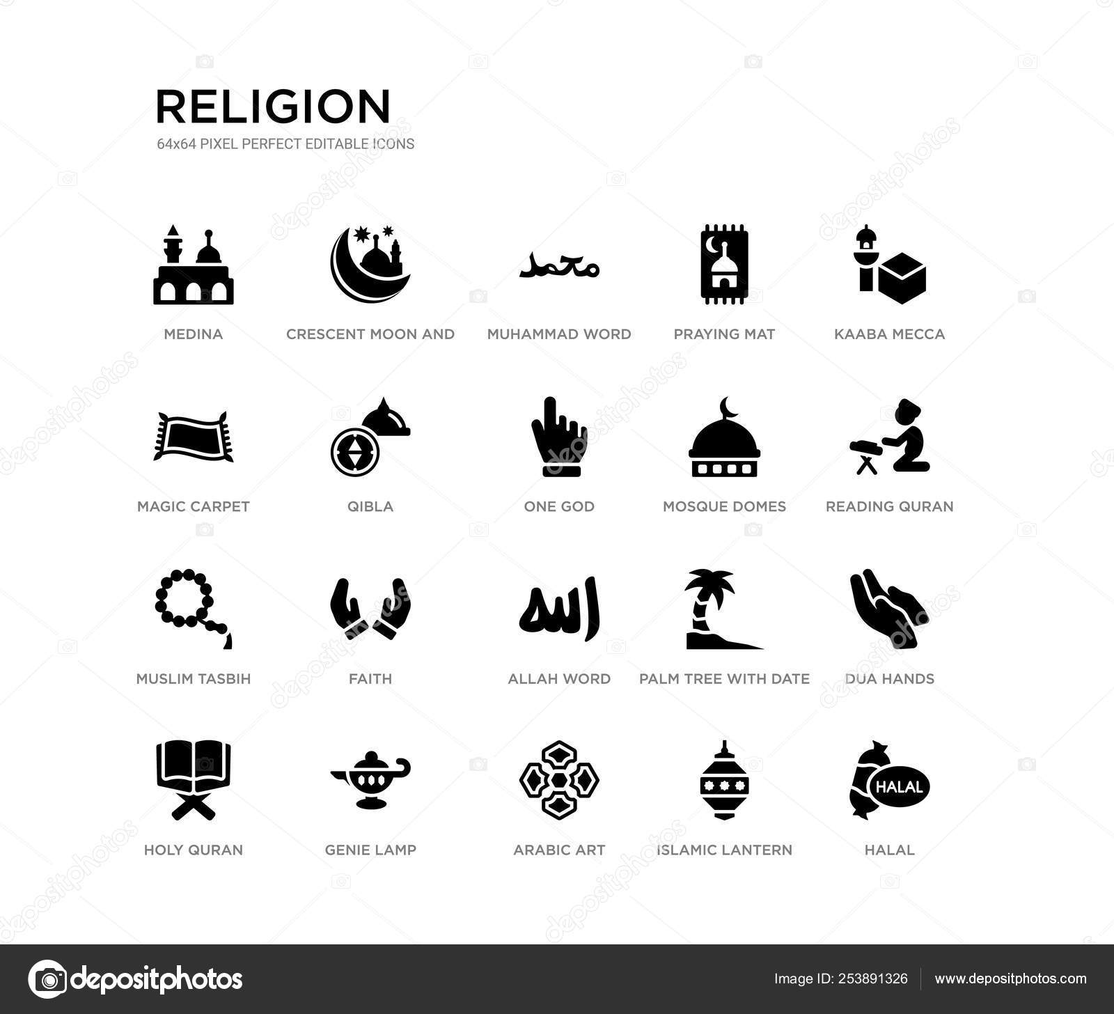 Set of 20 black filled vector icons such as halal, dua hands
