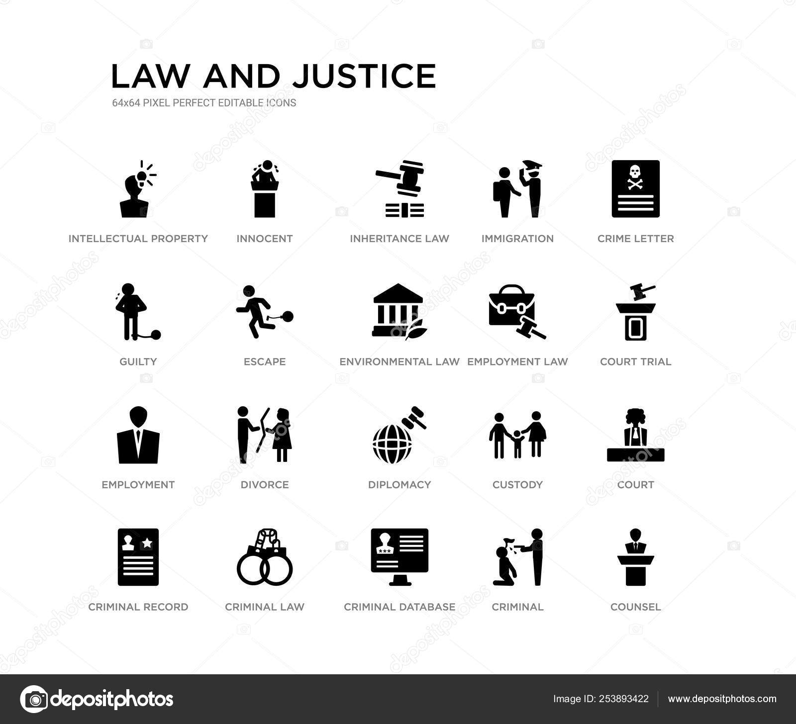 Set of 20 black filled vector icons such as counsel, court