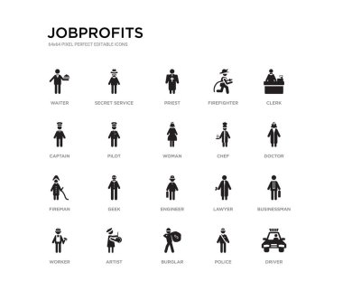 set of 20 black filled vector icons such as driver, businessman, doctor, clerk, police, burglar, captain, firefighter, priest, secret service. jobprofits black icons collection. editable pixel