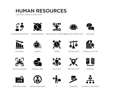 Set of 20 black filled vector icons such as company structure, compare, curriculum vitae, dialogue, earnings, fi, attrition, balanced scorecard, behavioral competency, benchmarking. human resources stock vector