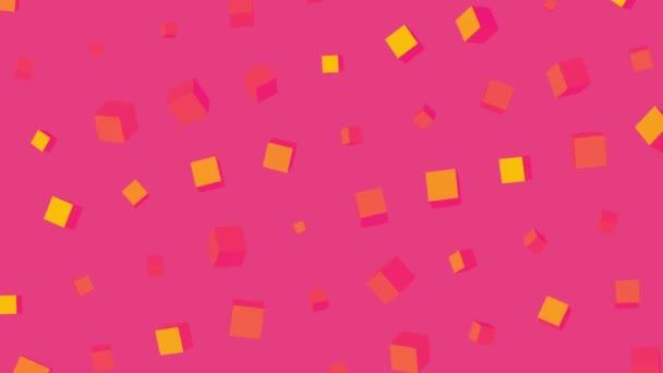 abstrakte Full-HD-Loop animierte Musterwürfel, die sich drehen. rosafarbener Hintergrund aus gelben rotierenden Würfeln oder Schachteln im 3D-Raum