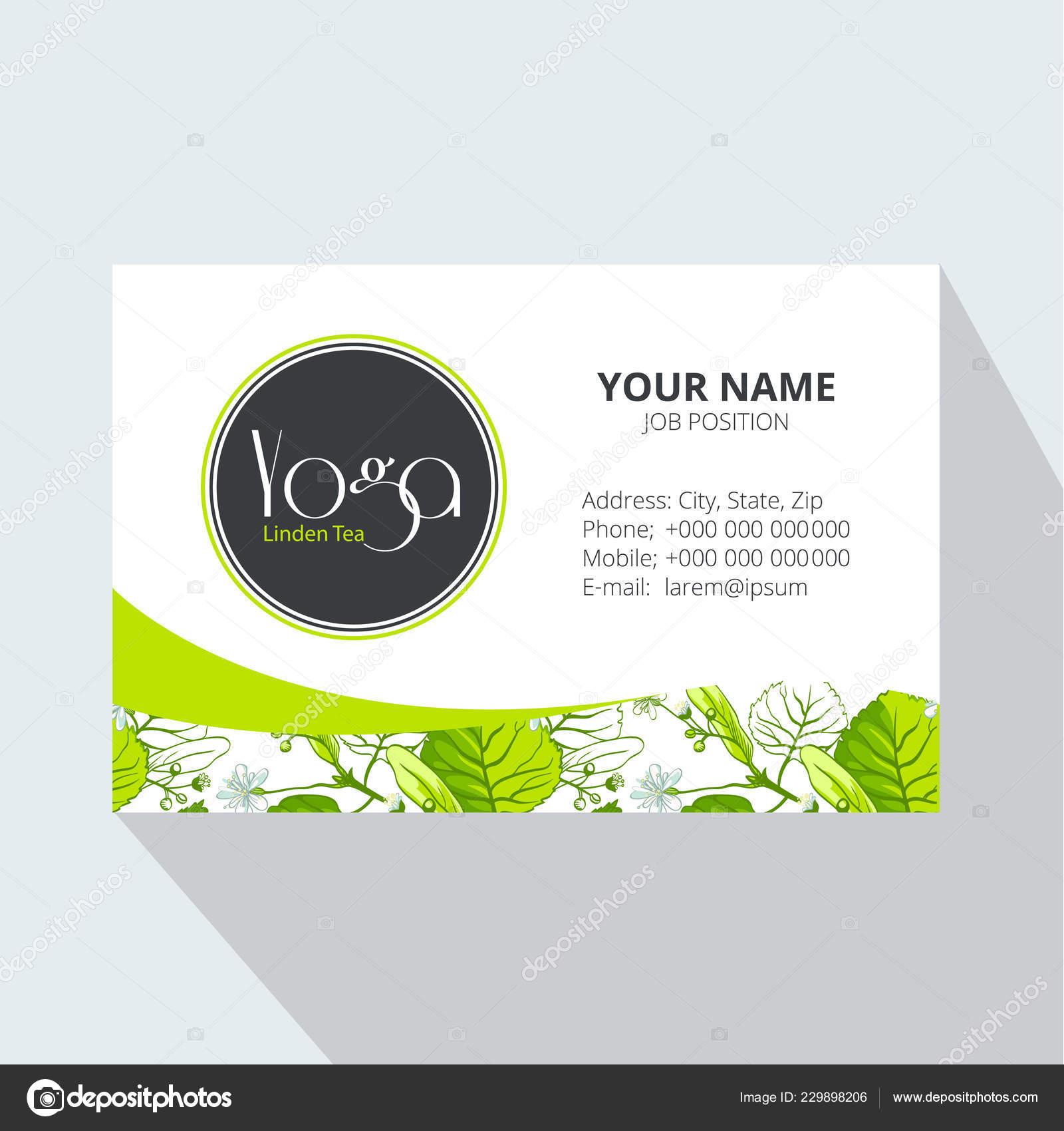 Yoga Linden Tea Corporate Business Card Linden Leaves Flowers Tea Stock Vector C Marina Eisymant 229898206