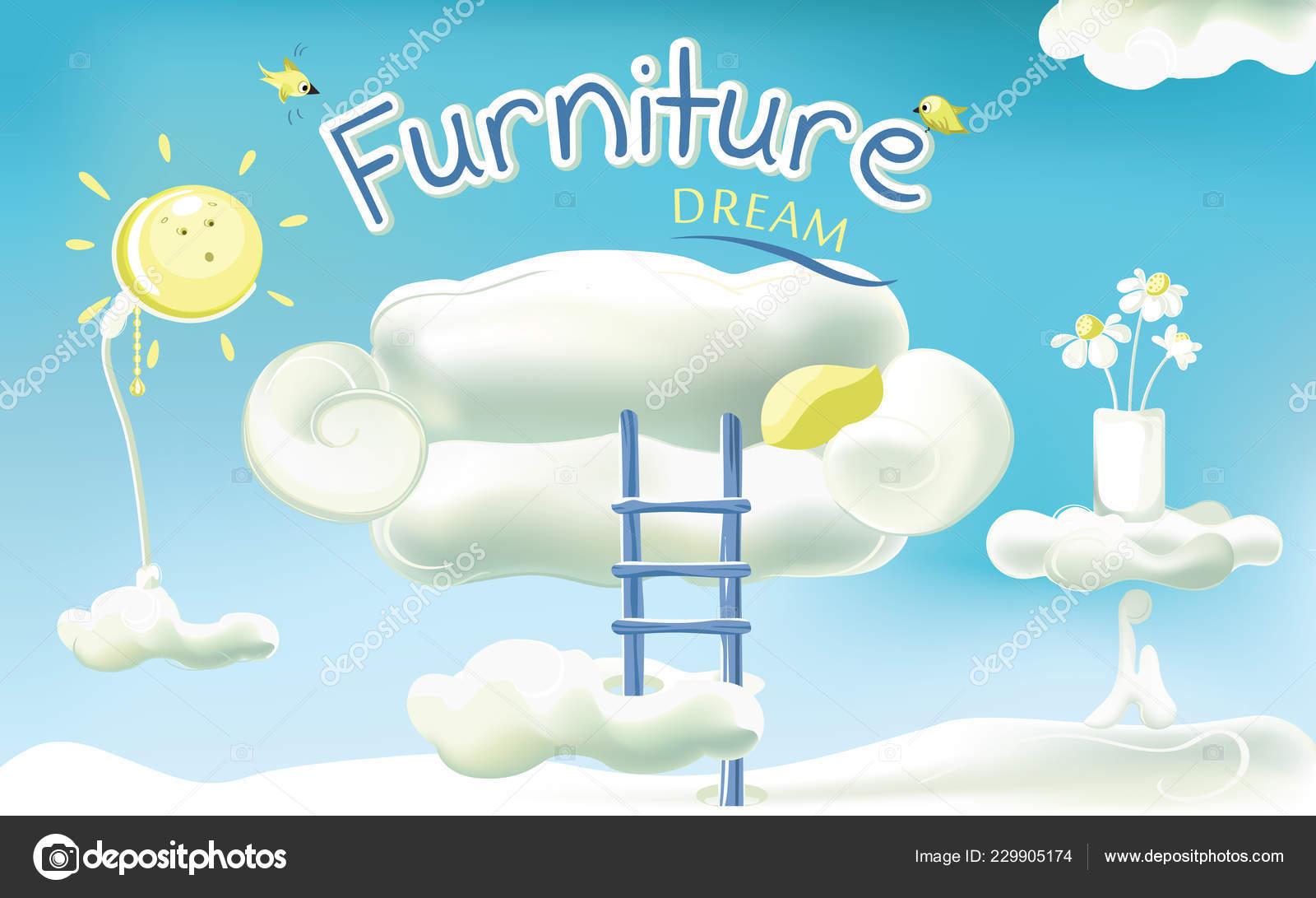 Möbel Traum Niedliche Möbel Interieur Des Zimmers Form Von Wolken