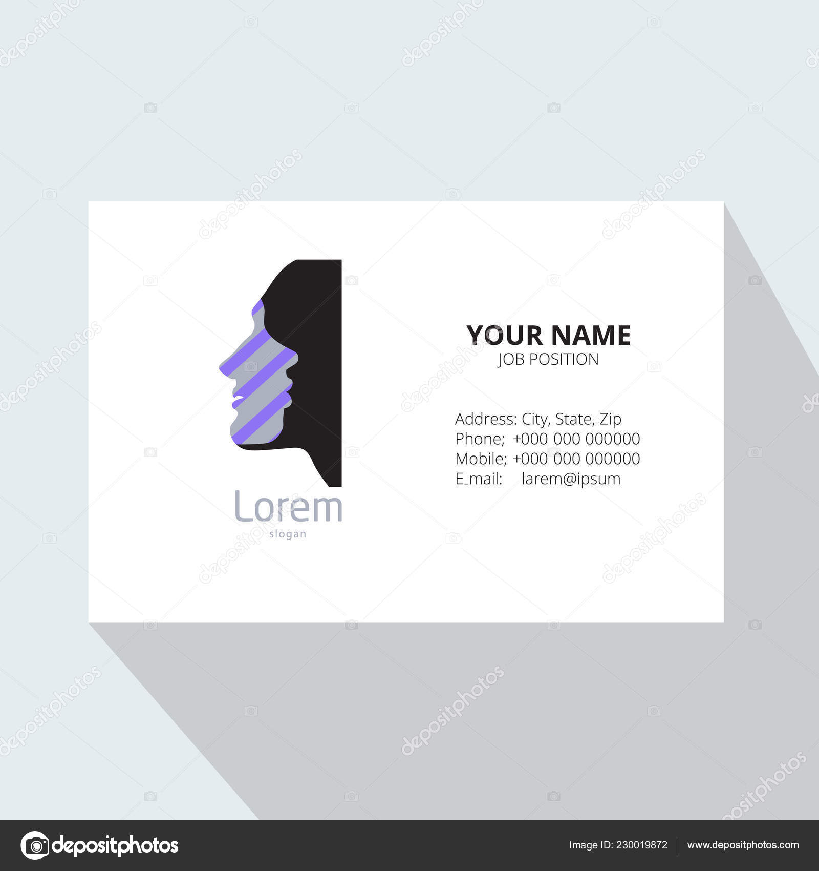 Design Logotipo Cartao Visita Modelo Com Rostos Masculinos