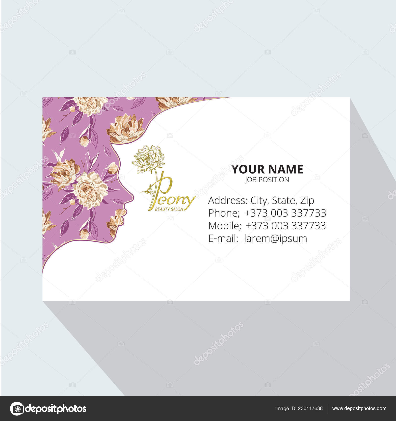 Beauty Space Logo Design Business Card Template Female Face