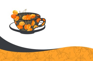 creative business card template with sea-buckthorn tea