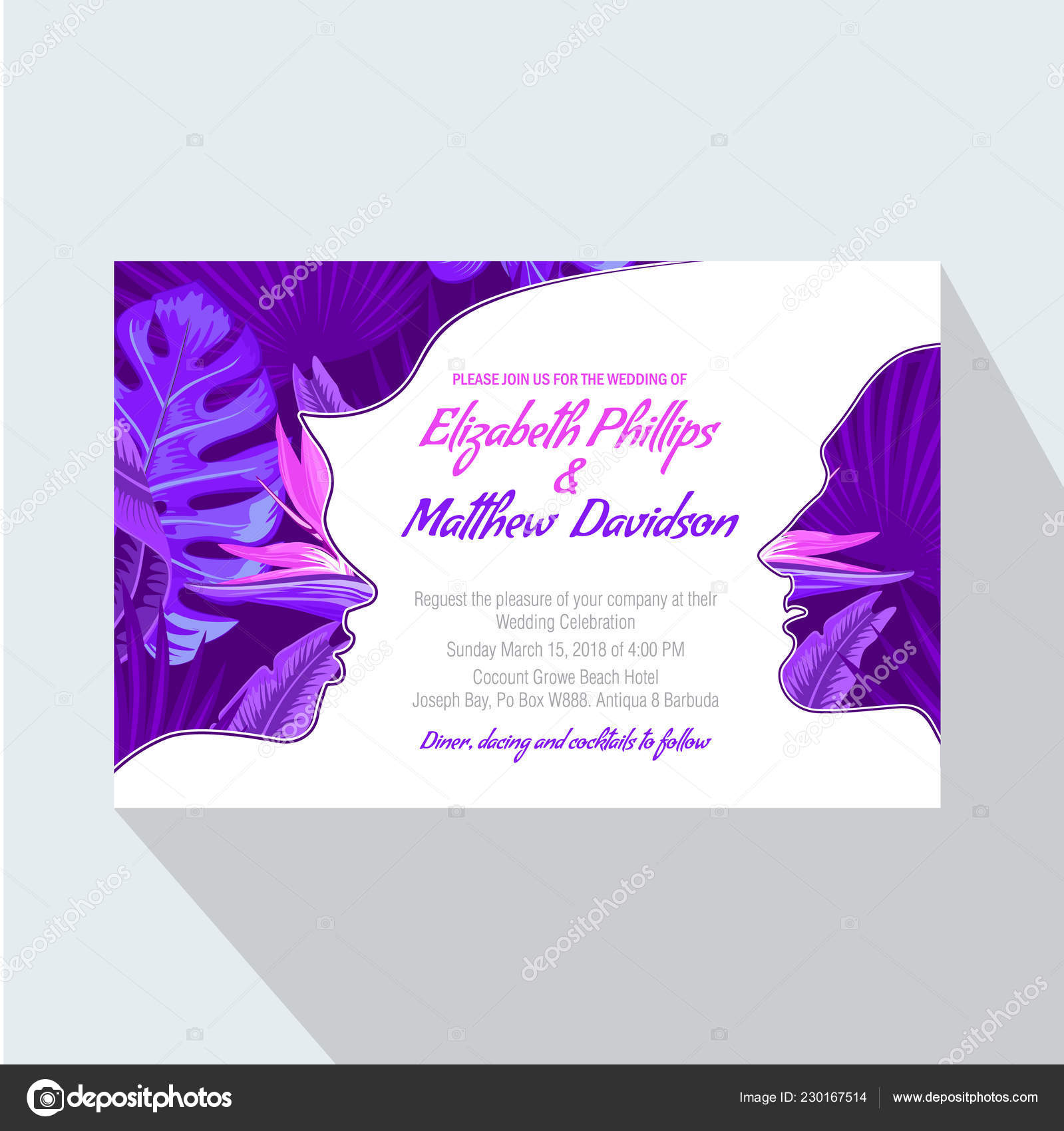 Modele Carte Invitation Mariage Vector Illustration Image