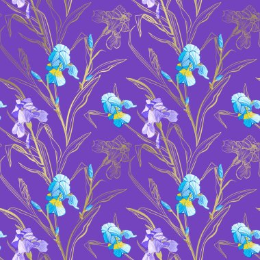 Floral seamless pattern. Flower iris background. Floral seamless texture with flowers.