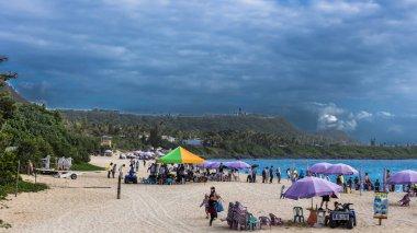 Hengchun, Taiwan - Feb 2019: Crowded Baisha Beach with mainland China tourist