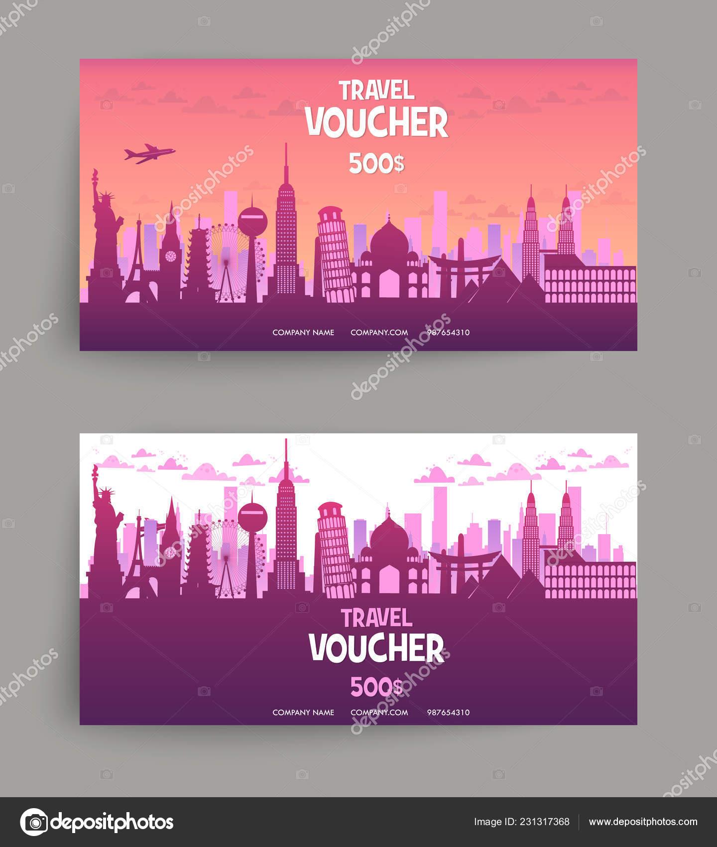 Vector Set Gift Travel Voucher Template Festive Gift Card Coupon