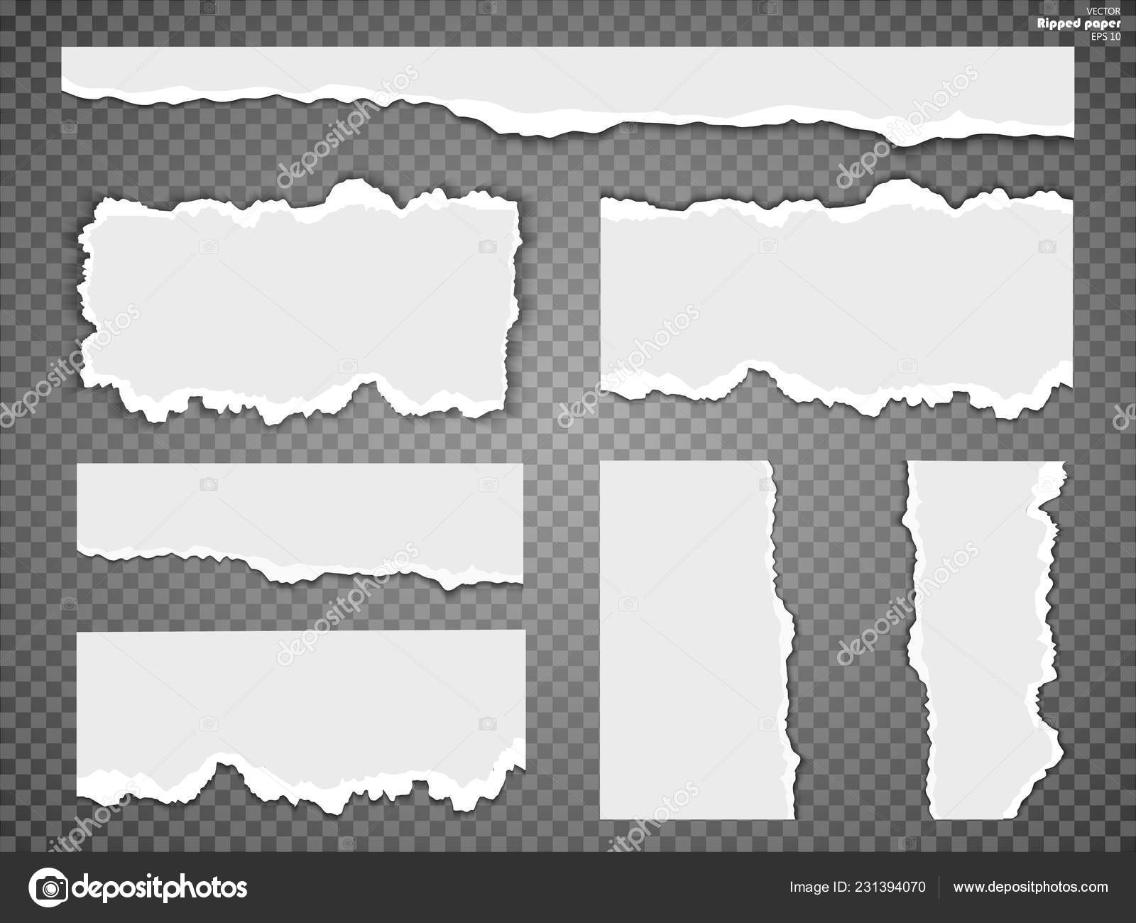 Torn Paper Sheet Ripped Paper Edges Isolated Transparent Background