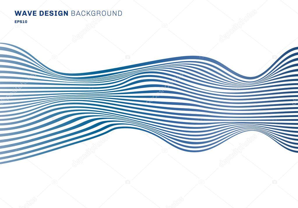 Abstract horizontal lines blue wave design pattern horizontal li