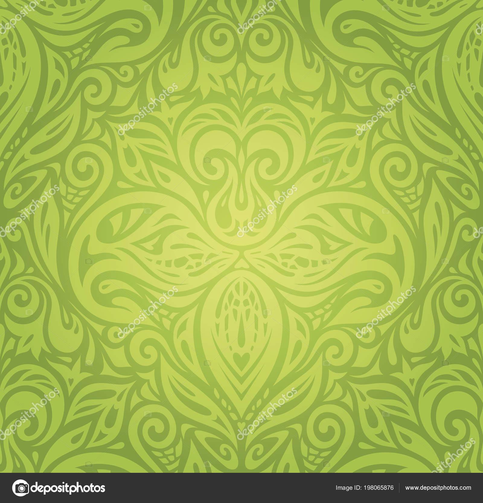 Verde Floral Retro Vintage Wallpaper Vector Diseño Fondo