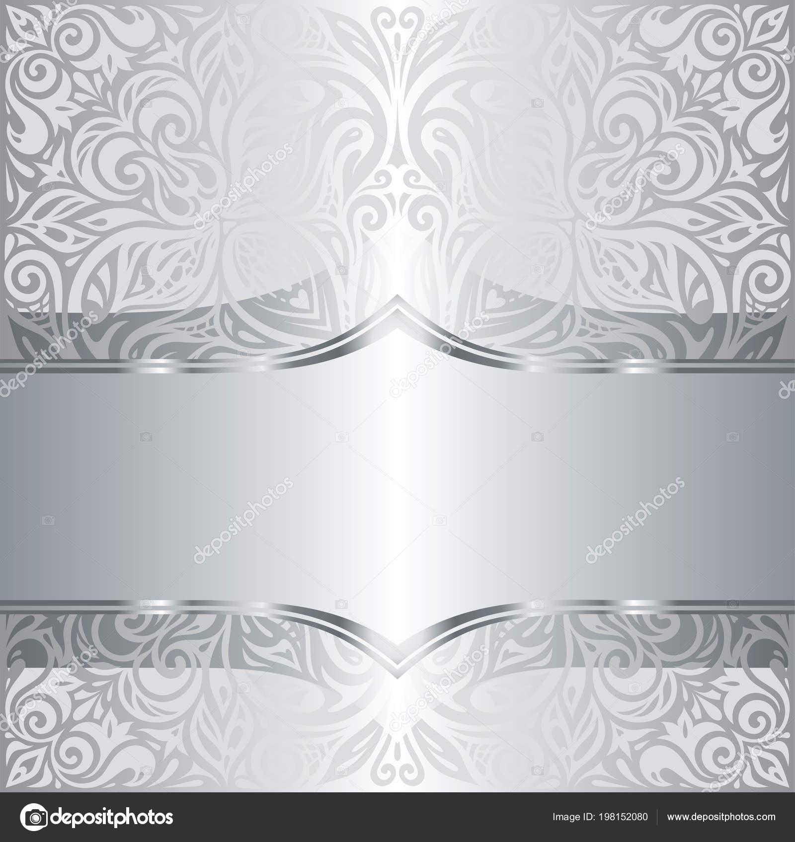 Silber Glanzend Vintage Blumenmuster Tapete Hintergrund Design