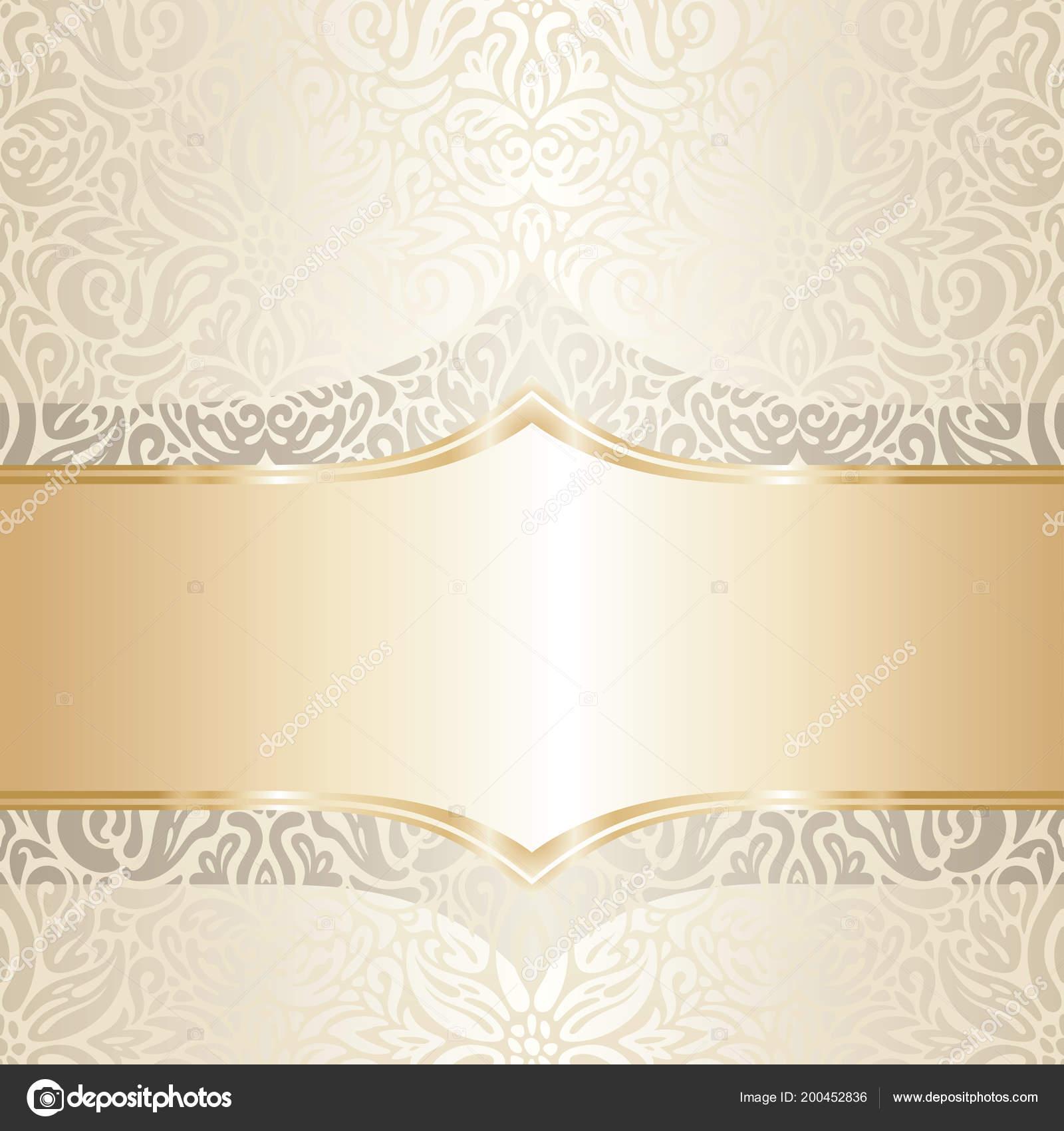 Floral Wedding Invitation Wallpaper Trend Design Ecru Gold Blank ...