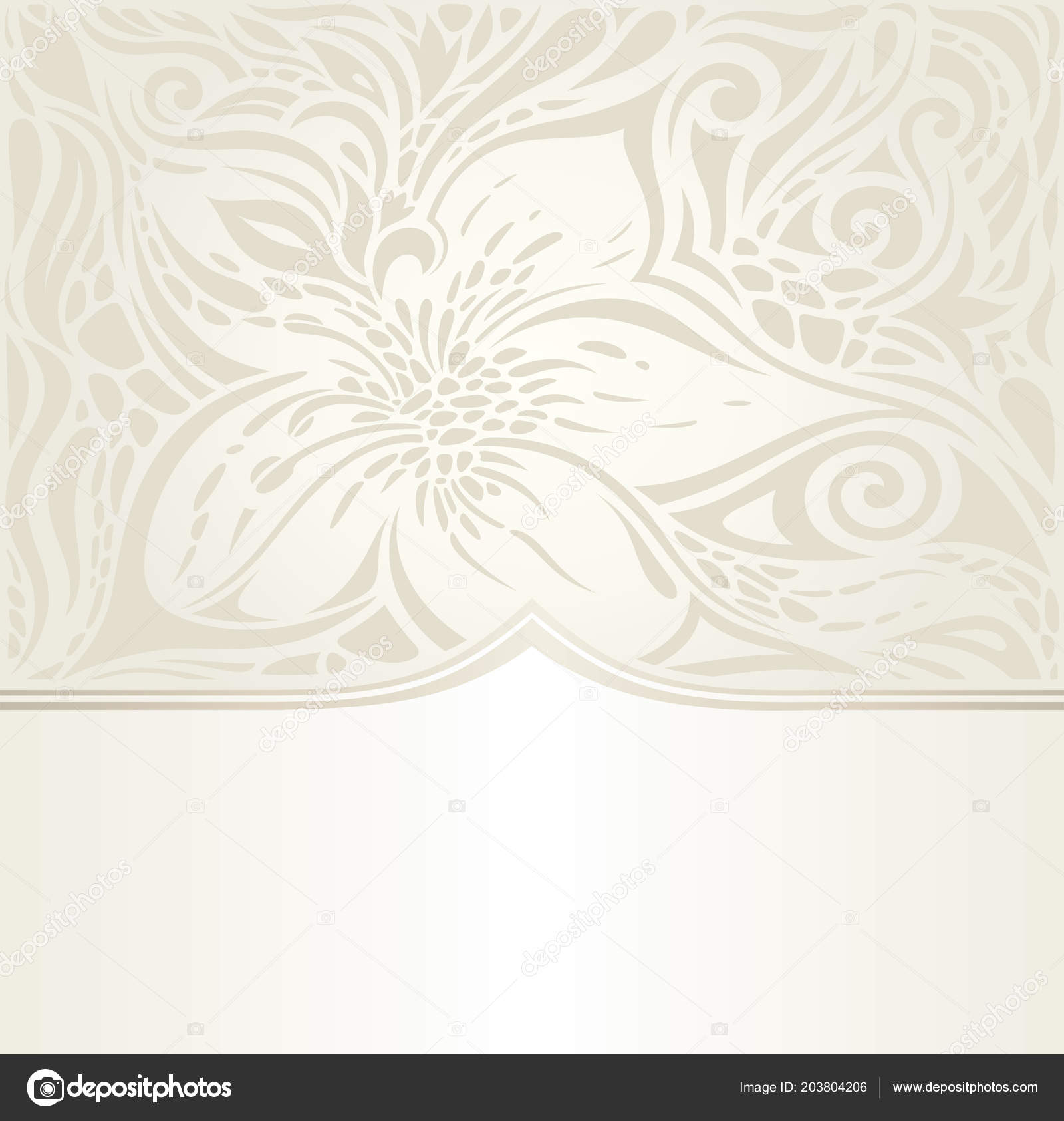 Floral Wedding Invitation Wallpaper Bridal Design Ecru Copy Space ...