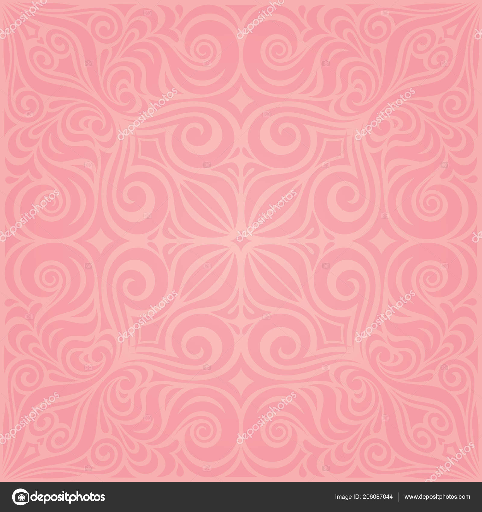 Floral Pink Vector Wallpaper Trendy Fashion Mandala Design Wedding Decorative Stock