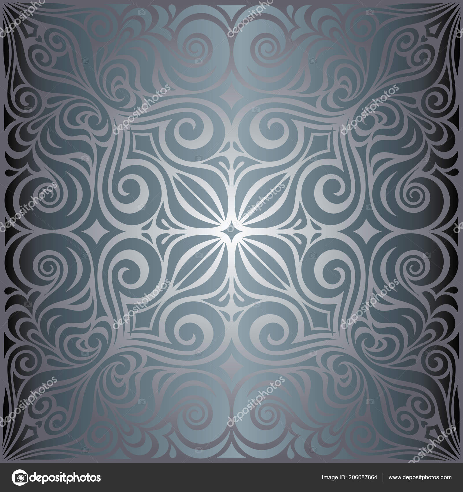 Silver Flowers Floral Shiny Decorative Vintage Wallpaper Background Trendy Fashion Stock Vector