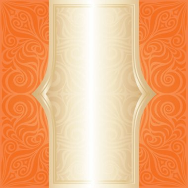 Floral Orange Retro style colorful wallpaper background trendy fashion mandala design with gold copy space