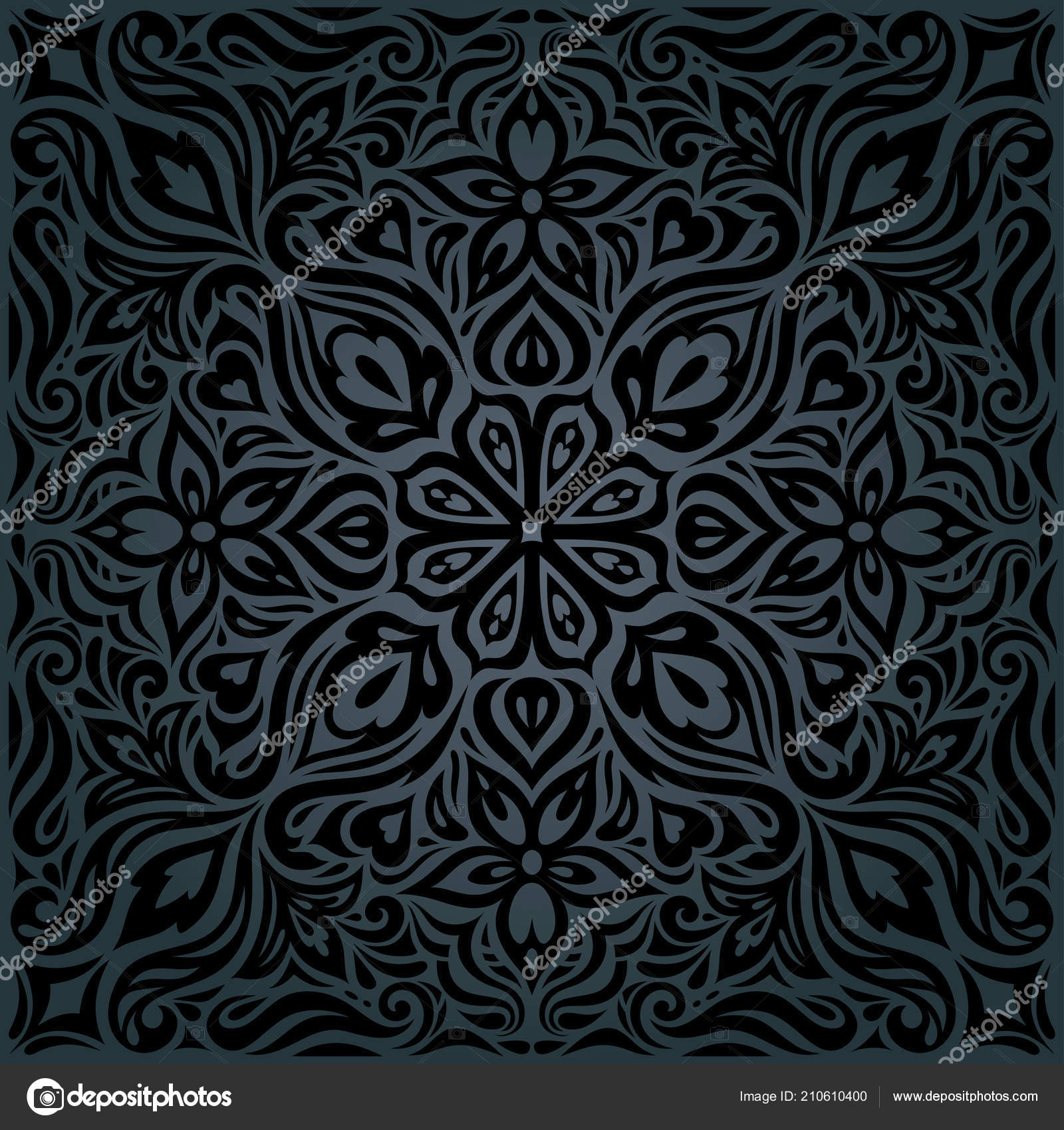 Black Ornate Flowers Floral Decorative Vintage Background Trendy Fashion Wallpaper Stock Vector