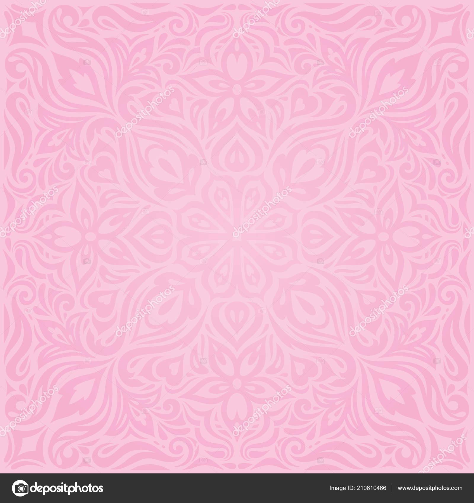 Floral Pink Vector Wallpaper Trendy Fashion Mandala Design Wedding Decorative Stock