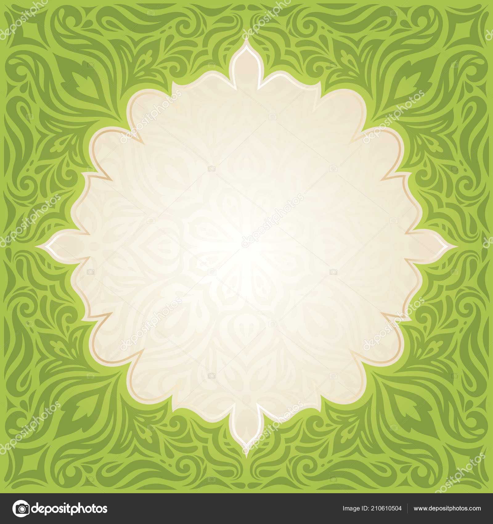 Green Easter Floral Vintage Wallpaper Vector Mandala Design